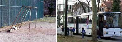 Die Realität: Hart- bzw. Ascheplatz und Bustransfer